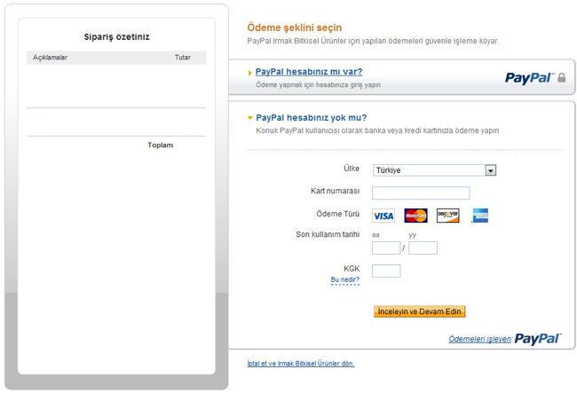 PayPal Ödeme Sayfası