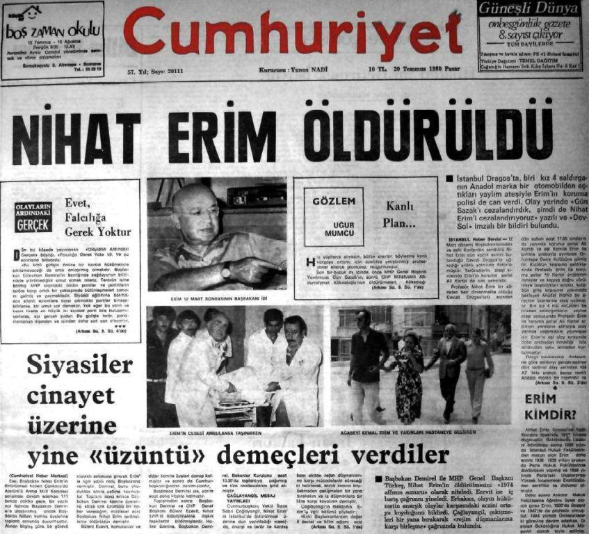 Nihat Erim 'in Öldürülmesi