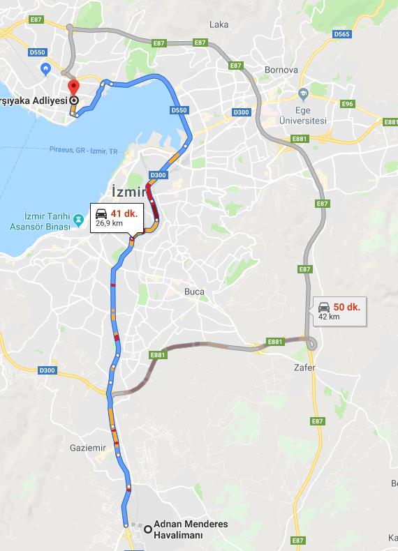 Karşıyaka Adliyesine Nasıl Gidilir - İzmir Adnan Menderes Havalimanı
