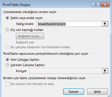 Excel Pivot Rapor - 3